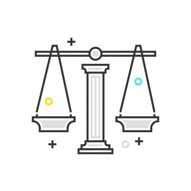 Color box icon, law scale illustration, icon