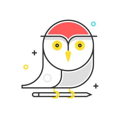 Color box owl icon, background and graphics