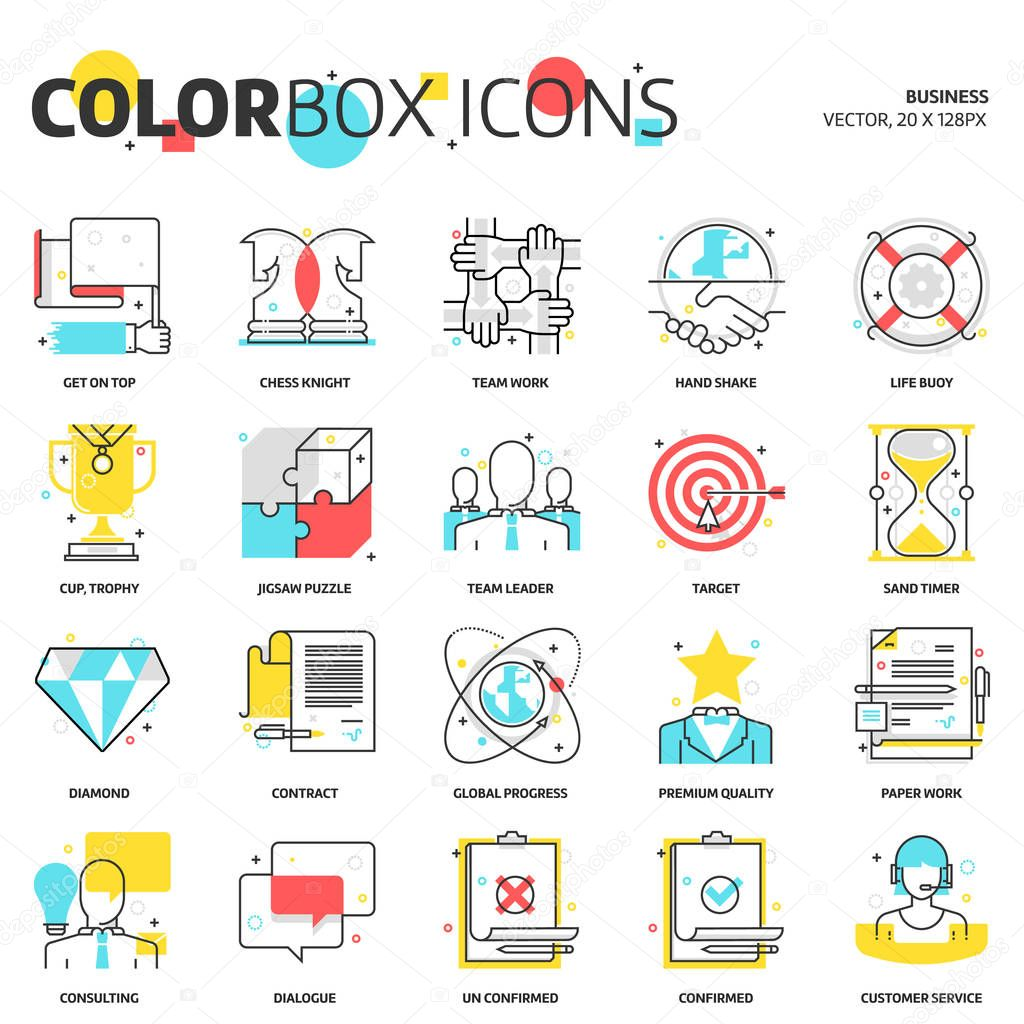 Color box icons, business backgrounds and graphics