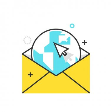 Color box icon, mailing illustration, icon