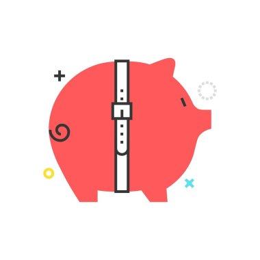 Color box icon, budget cut illustration, icon