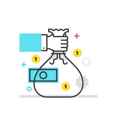Color box icon, moneybag illustration, icon