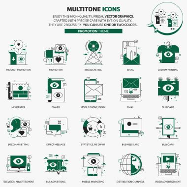 Multi tone icons, advertisement, backgrounds and graphics