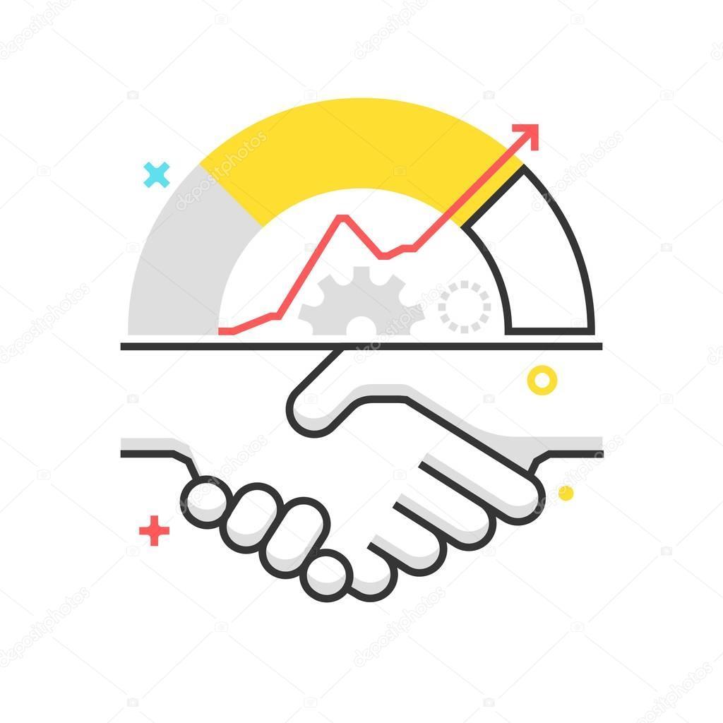 Color box icon, hand shake illustration, icon