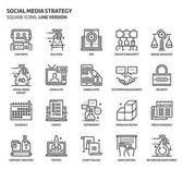 Photo Social media strategy icons set