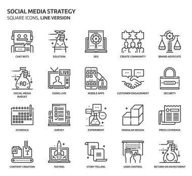 Social media strategy icons set