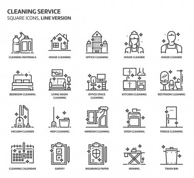 House cleaning service icons set