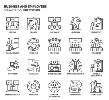 Business and employees, square icon set