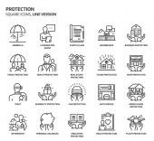 Photo Protection, square icon set