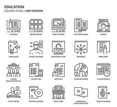 Education, square icon set.
