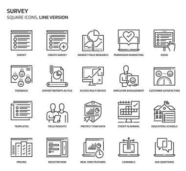 Survey square icon set