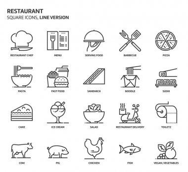 Restaurant, square icon set