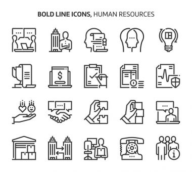 Human resources, bold line icons.