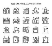 Photo Cleaning service, bold line icons