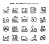 Photo Shipping and moving, bold line icons
