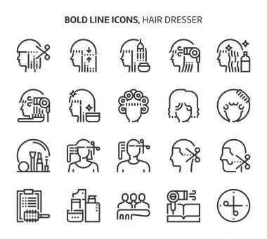 Hair dresser, bold line icons