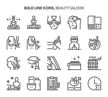 Beauty salon, bold line icons