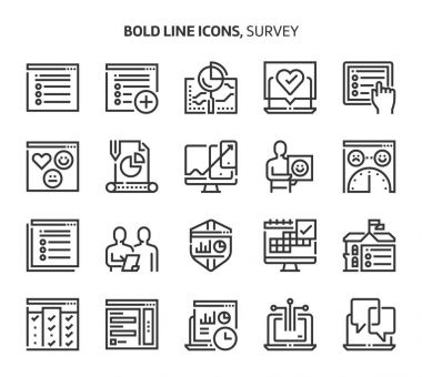 Survey, bold line icons.