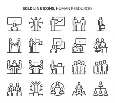 Human resources, bold line icons