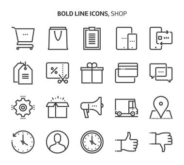 Shopping, bold line icons.