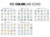 100 farbige Linien-Symbole