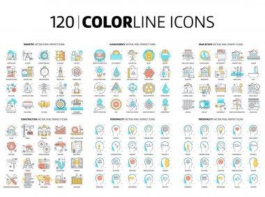 120 Color line icons