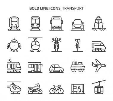 Transport, bold line icons