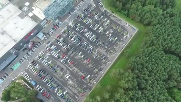 Aerial View Over Parking Near Supermarket