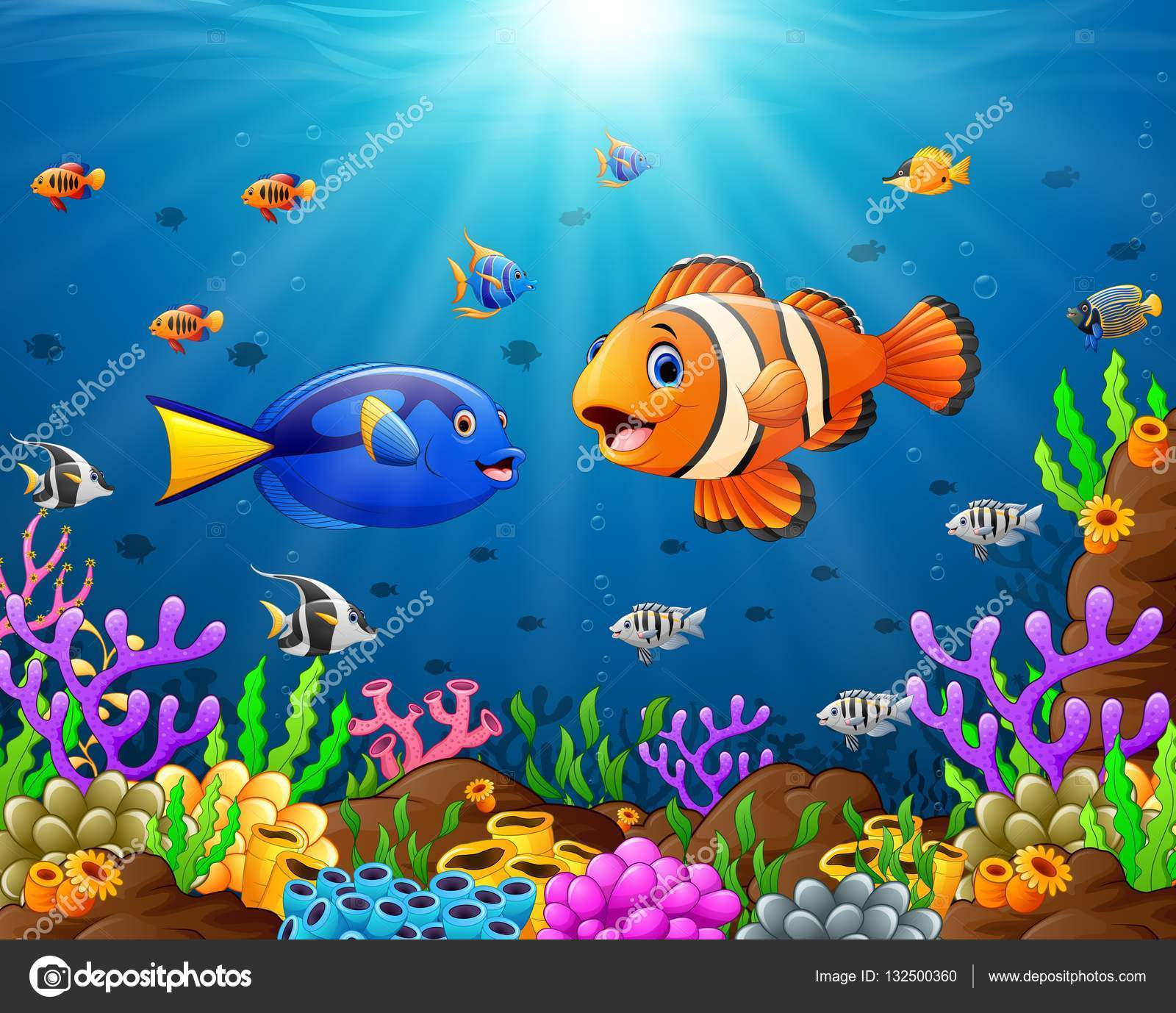 Stock Illustration Cartoon Fish Under The Sea
