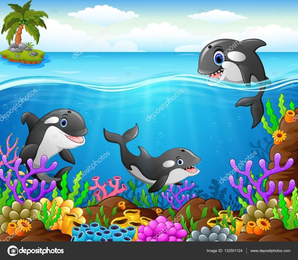 Desenho De Baleia No Fundo Do Mar