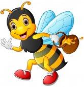 Cartoon bee drží hrnec medu