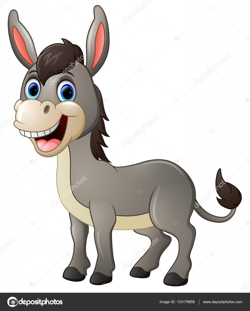 Sonrisa de burro de dibujos animados y felices — Archivo