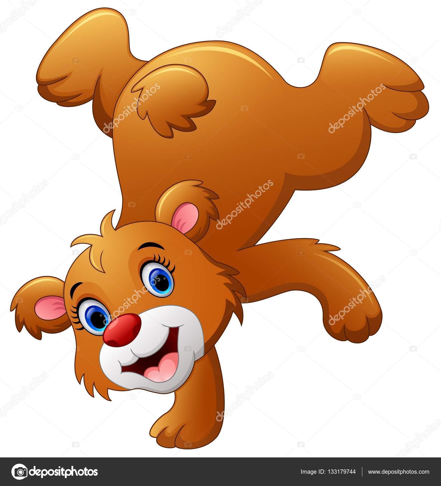 urso marrom bonito dos desenhos animados vetores de stock