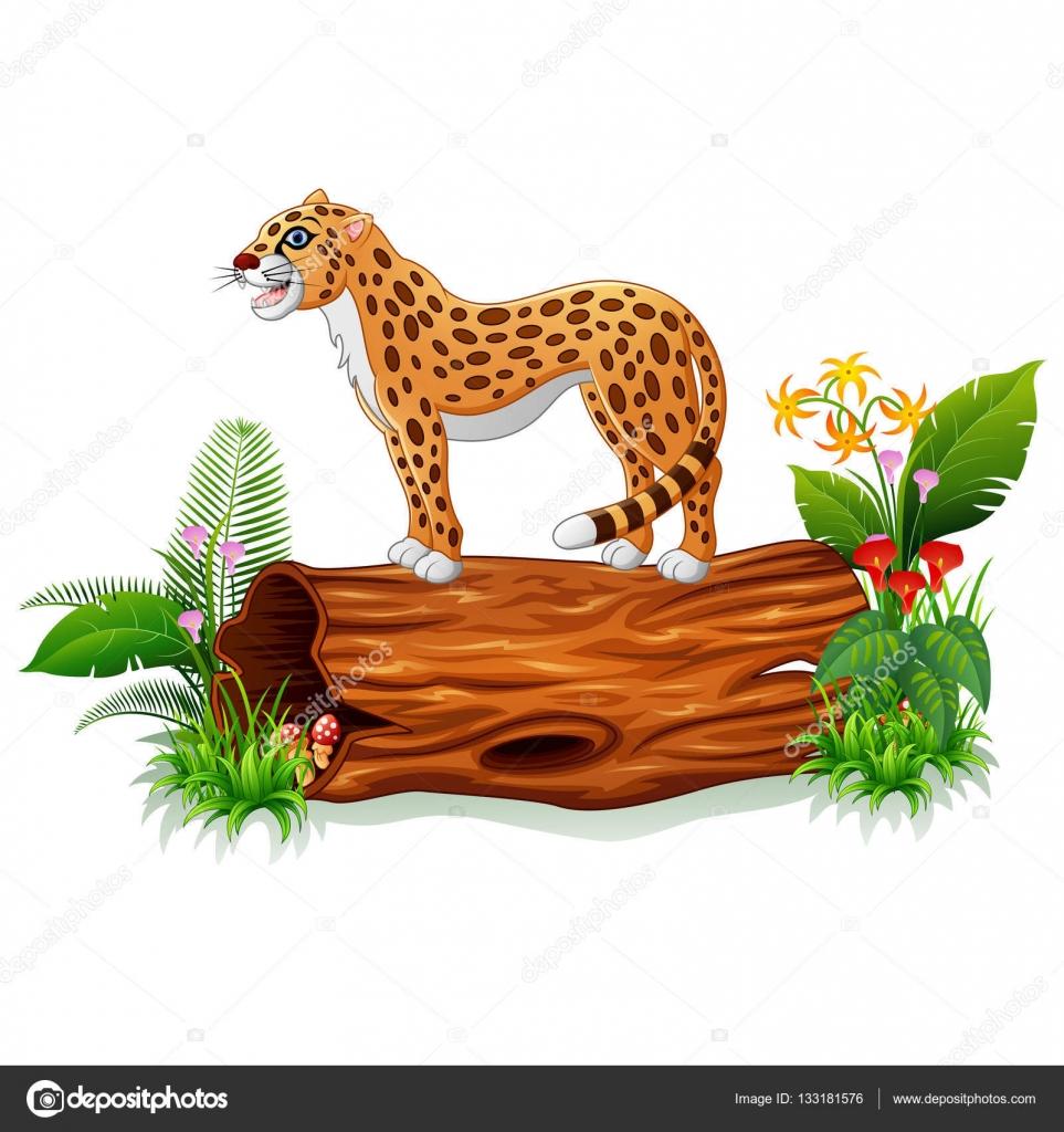gu pard de dessin anim sur le tronc d arbre image vectorielle dualoro 133181576. Black Bedroom Furniture Sets. Home Design Ideas