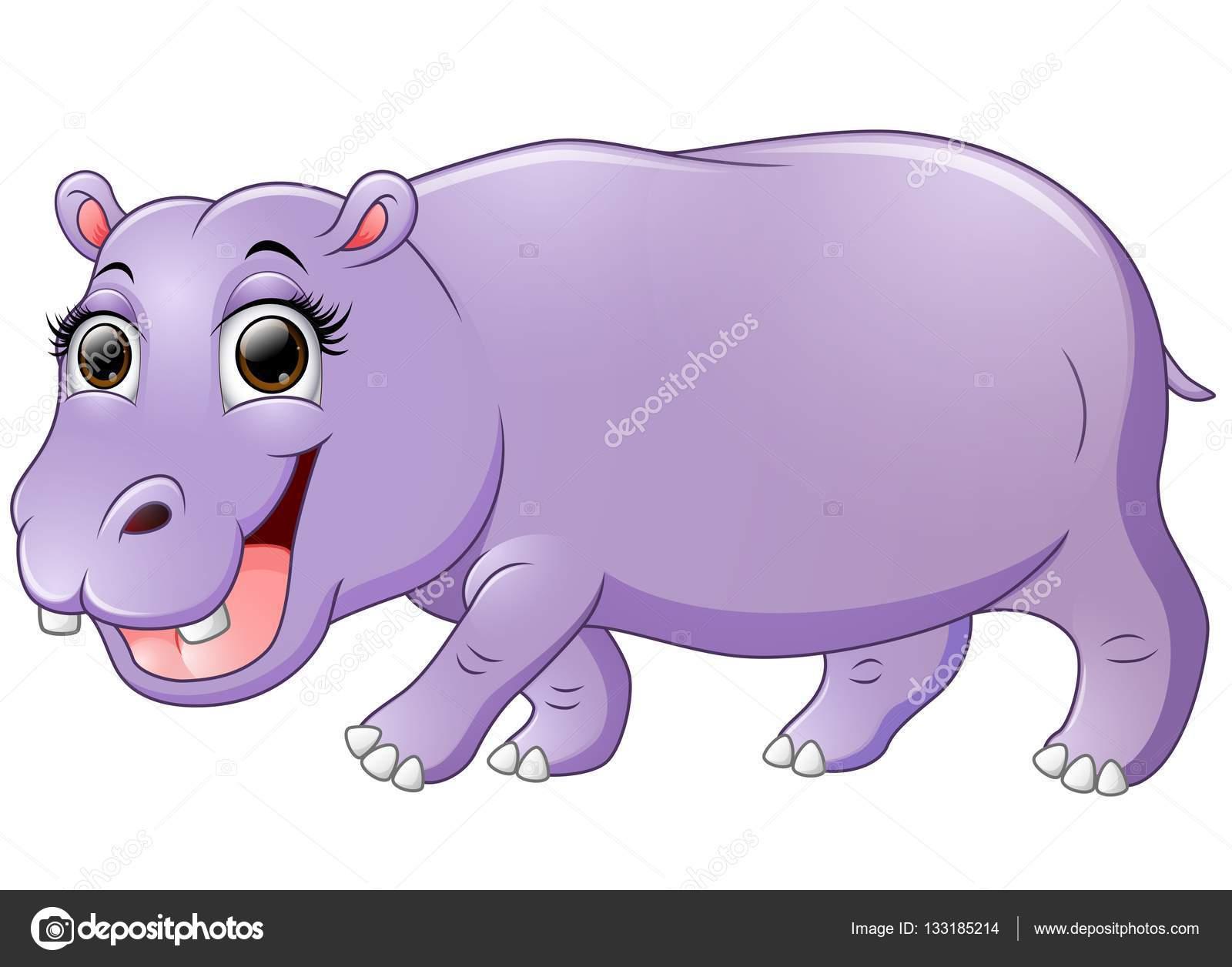 Dibujos Animados De Hipopótamos Feliz Caminar