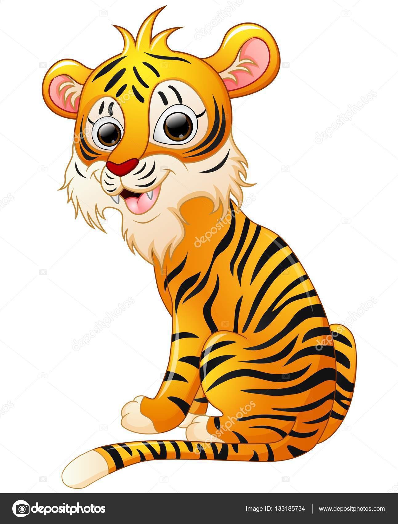 Süße Tiger Cartoon sitzen — Stockvektor © dualoro #133185734