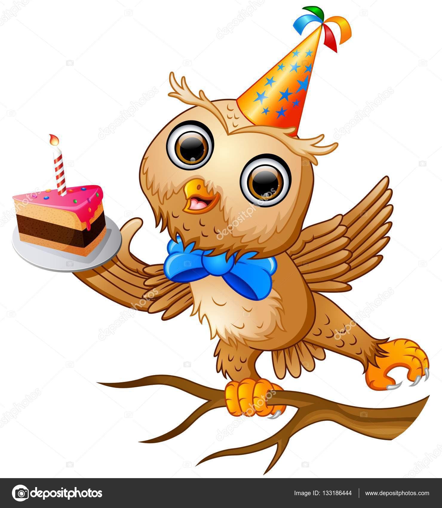 Feliz Coruja Cartoon Comemorando Aniversário