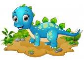 Cartoon šťastný modrý dinosaurus