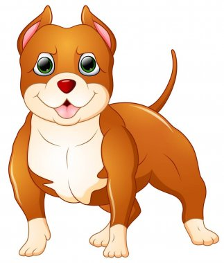 Cute pitbull cartoon standing