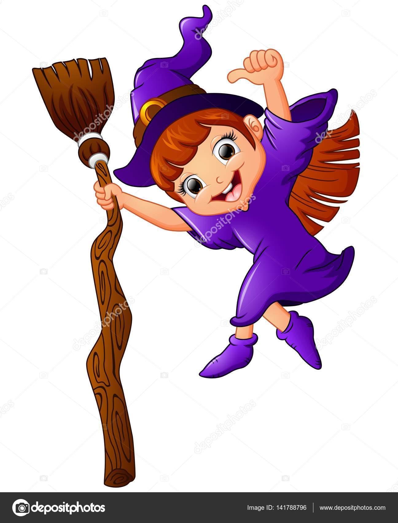 desenhos animados de bruxinha segurando a vassoura e desistir de
