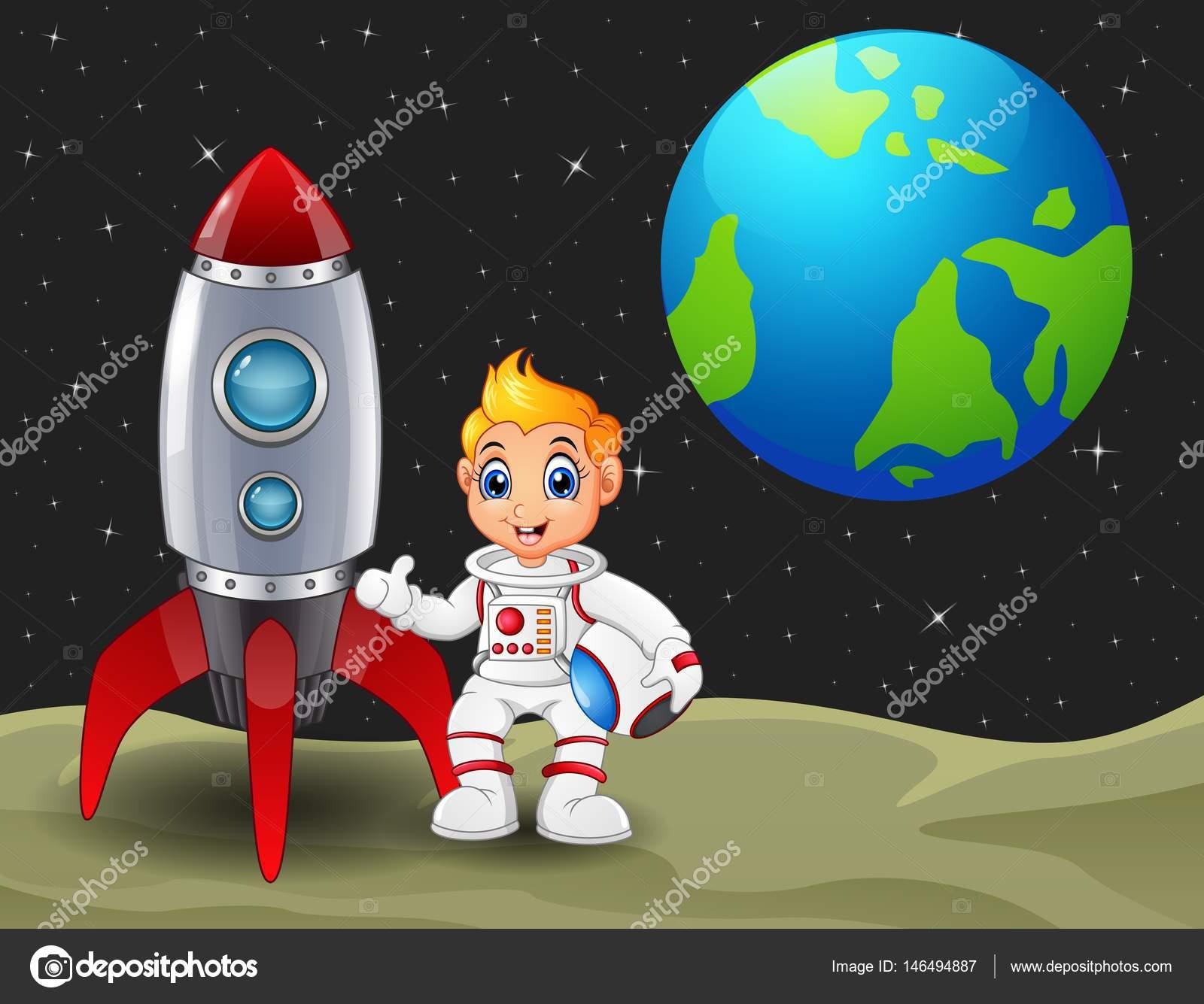 Ni o astronauta de dibujos animados sosteniendo un casco y - Dibujos infantiles del espacio ...