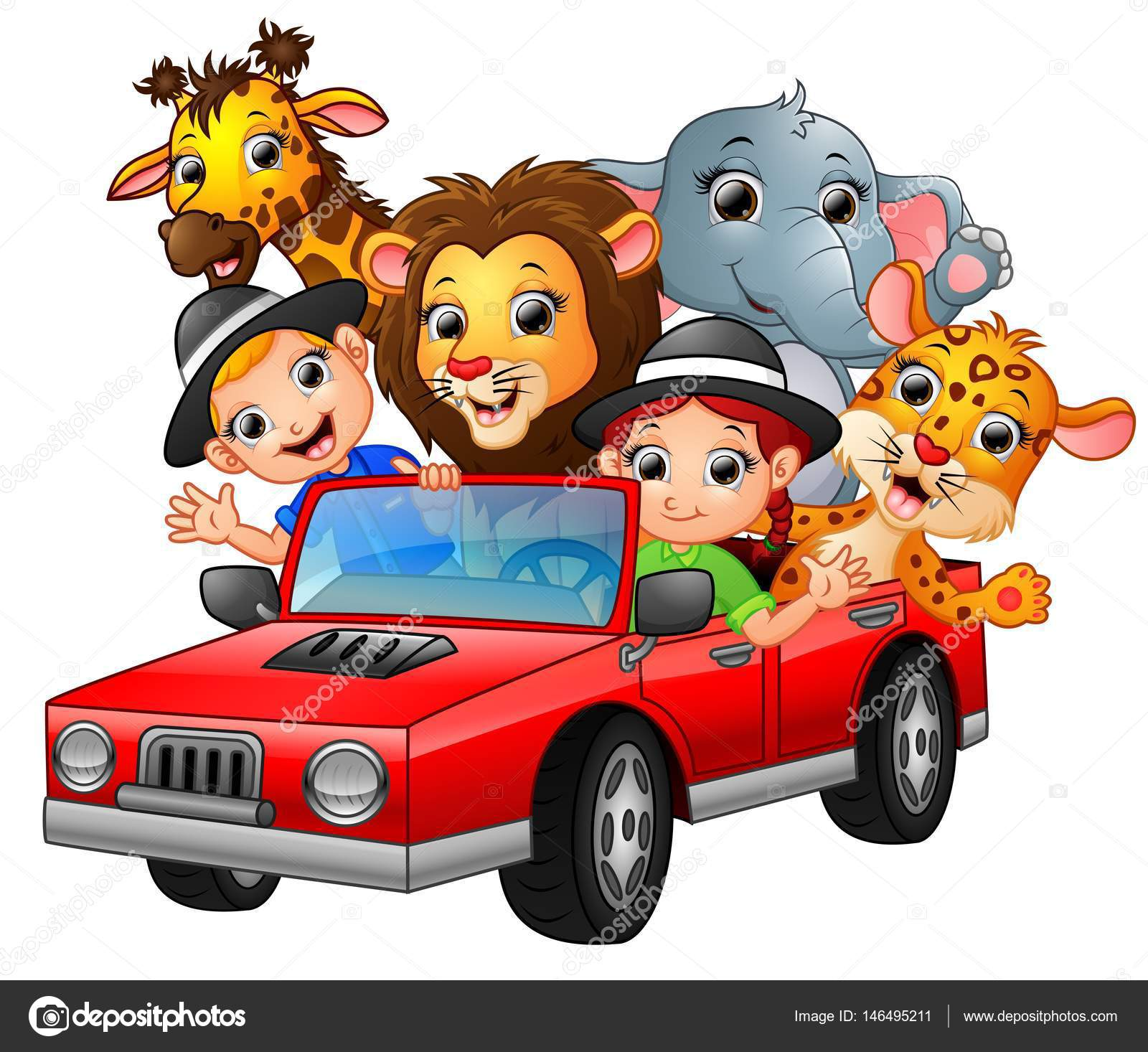 enfants dessin anim conduisant une voiture rouge avec des animaux sauvages image vectorielle. Black Bedroom Furniture Sets. Home Design Ideas