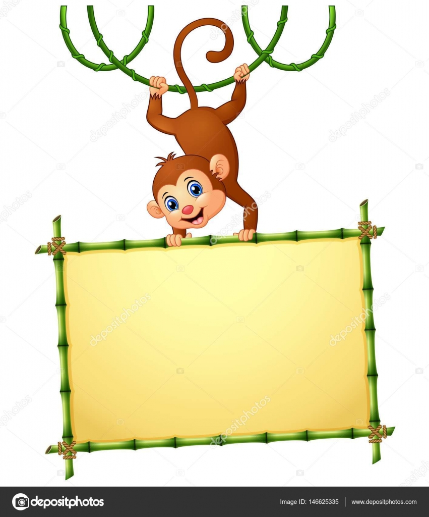 monkey with holding bamboo frame stock vector 146625335 - Monkey Picture Frame