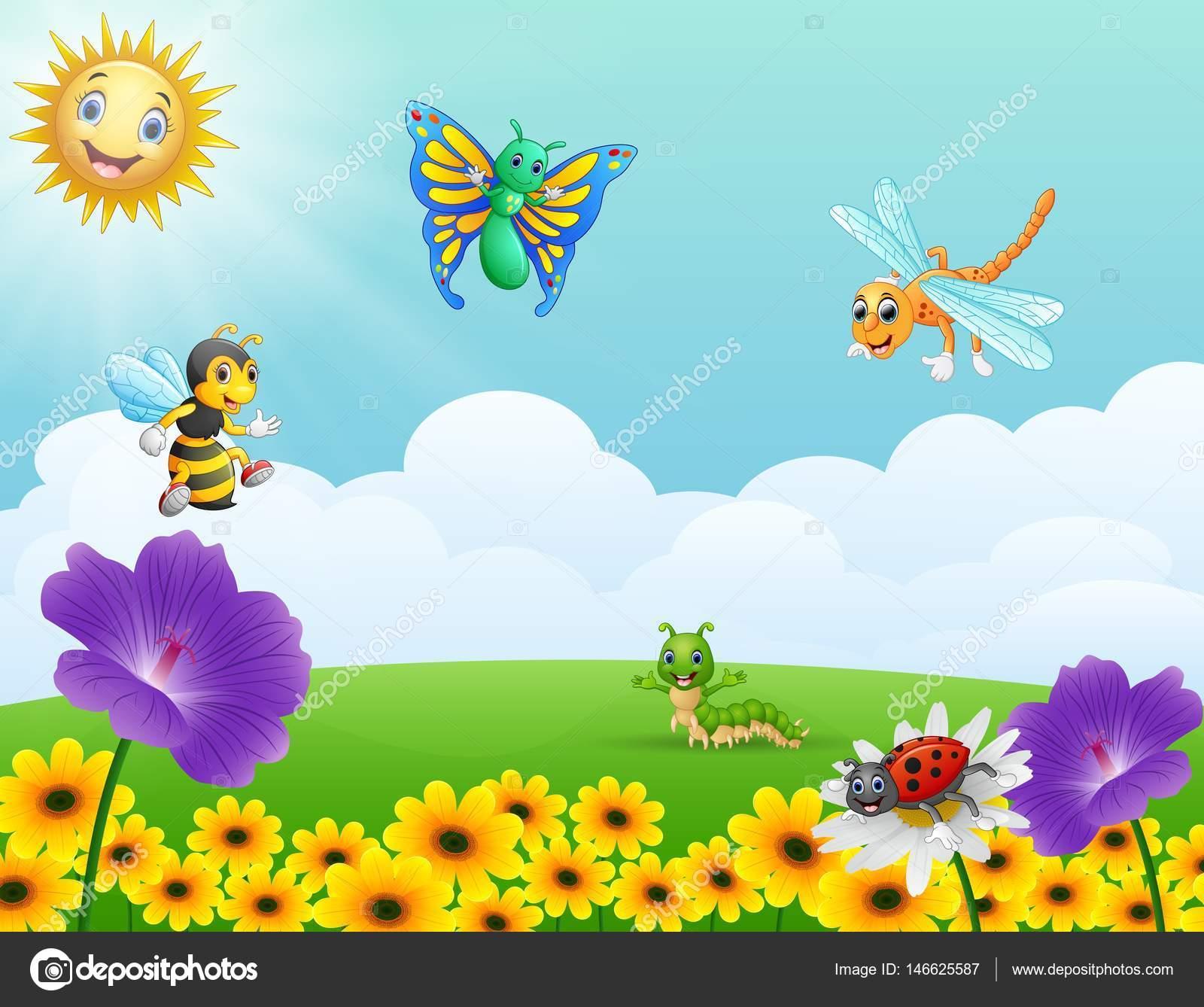 Dibujos animados de insectos en el jard n archivo for Jardin dibujo
