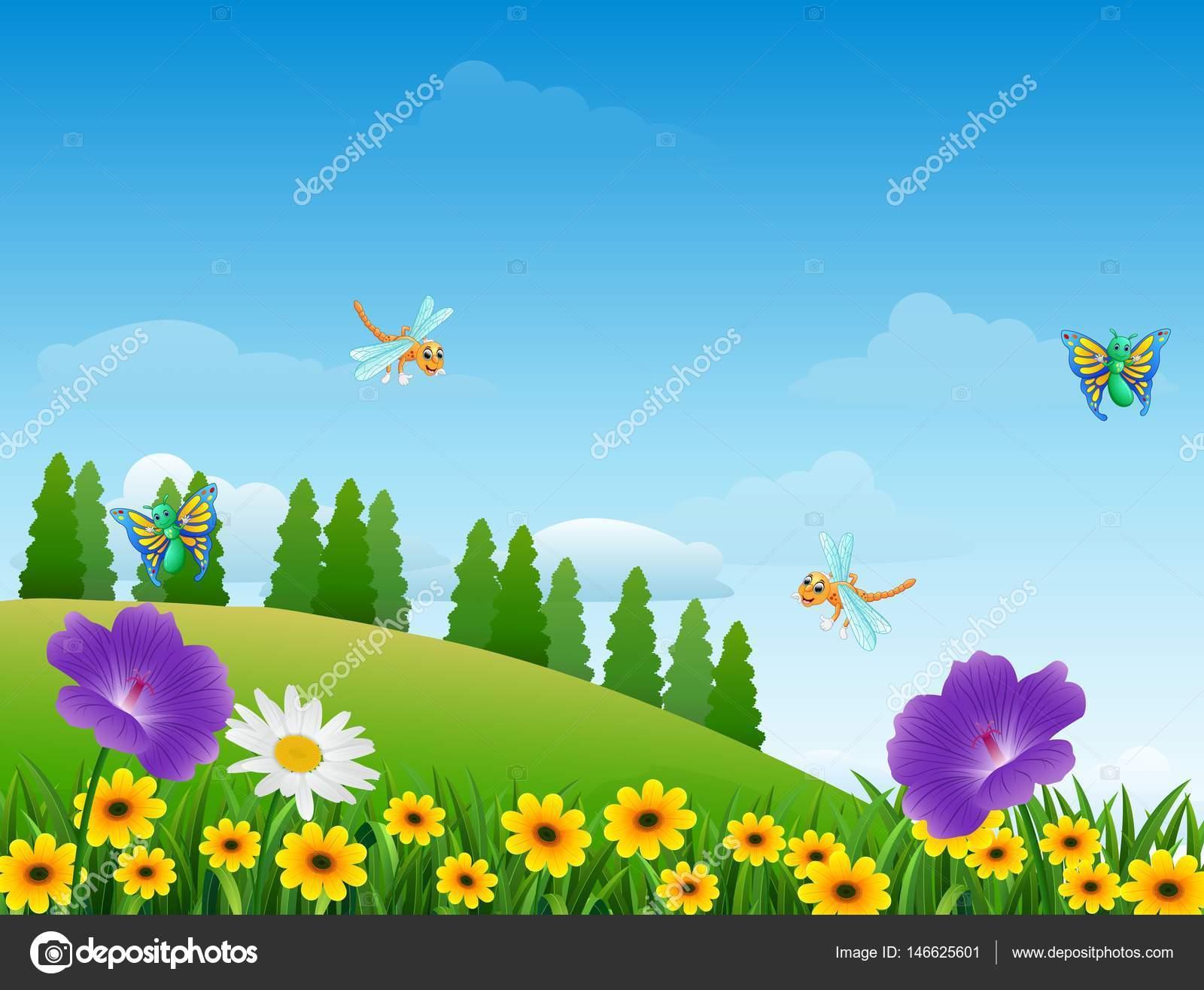Dibujos animados de insectos en el jard n archivo for Figuras para el jardin