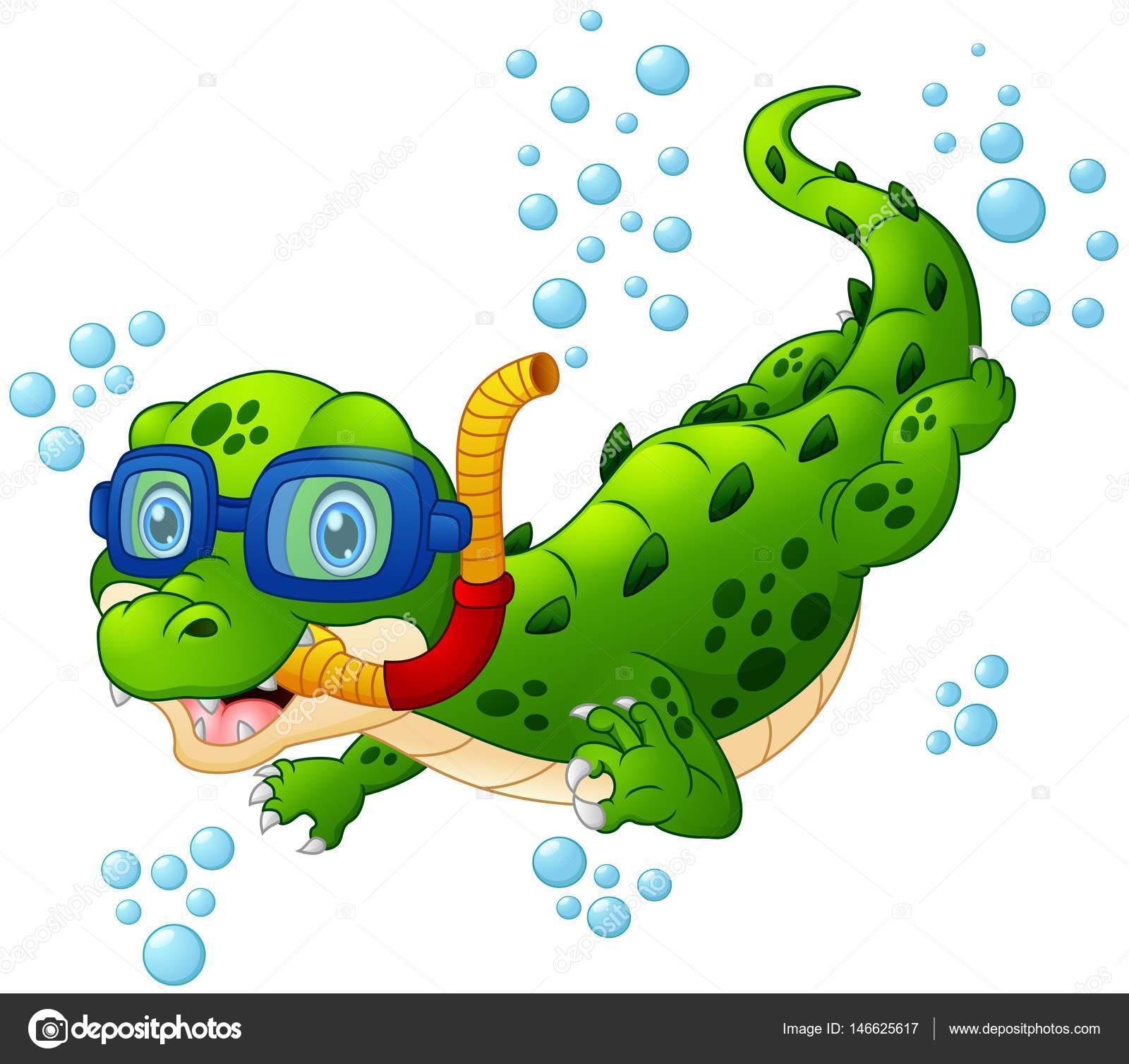 Plongeur de crocodile de dessin anim image vectorielle dualoro 146625617 - Dessin anime les crocodiles ...