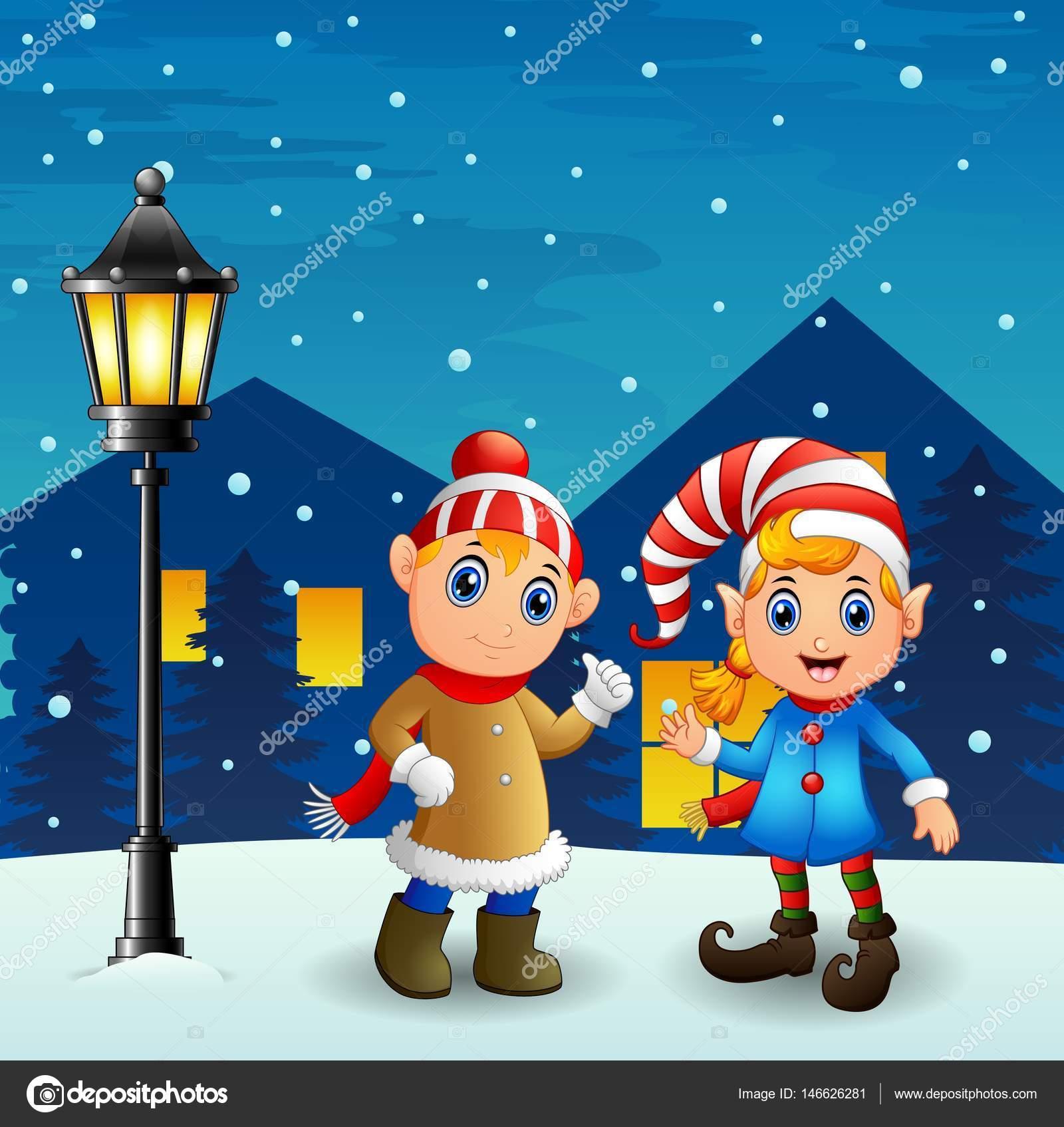 夜背景で落ちる雪とクリスマス エルフ カップル — ストックベクター