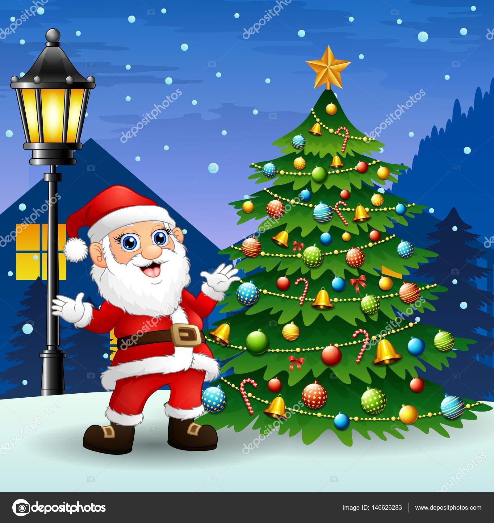 Tannenbaum Mit Schneefall.Weihnachtsmann Mit Tannenbaum Und Schneefall Bei Nacht Hintergrund