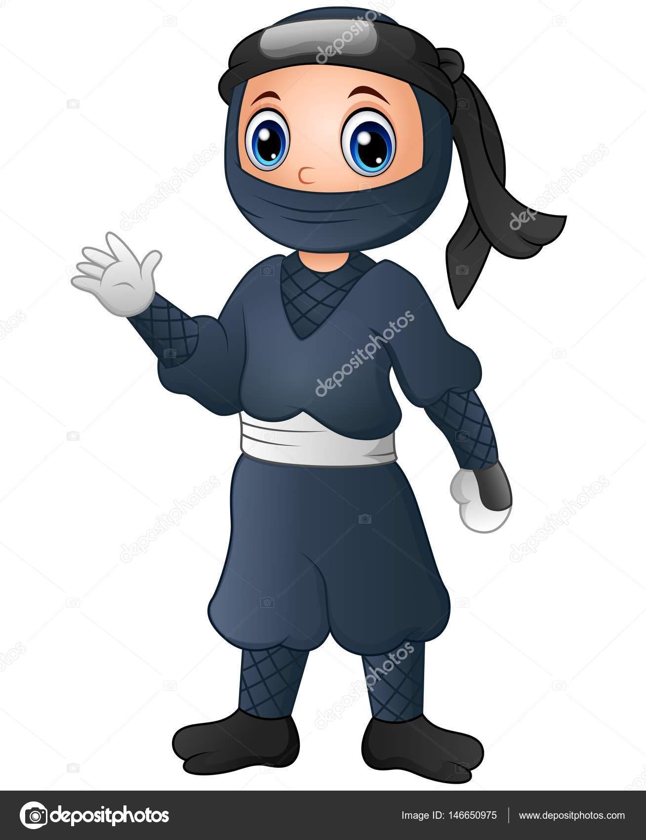 Simpatico cartone animato mano d ondeggiamento di ninja