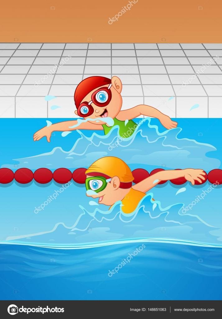 Nadador Ni O De Dibujos Animados En La Piscina Vector De Stock Dualoro 146651063